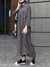 M-5XL Cotton Solid Color Long Sleeve Women Dress