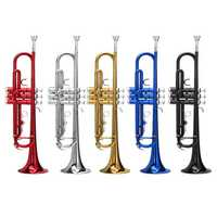 Bb Beginner Trumpet Brass Band Gold Plated Care Kit Case in Gold Silver Red Blue Black