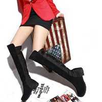 New Women Over The Knee Boot Flats Comfortable Fashion Suede Soft Boots Shoes