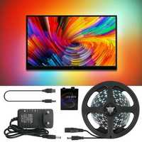 Ambilight DC5V 2M/3M/4M/5M WS2812B 5050 RGB Dream Color USB APP LED Strip Light for Desktop PC Screen