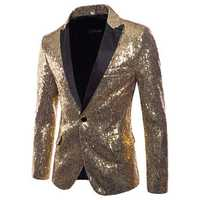 Mens Sequin Dress Suit Palace Wedding Banquet Stage Blazer