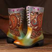 SOCOFY Bohemian Jacquard Zipper Boots