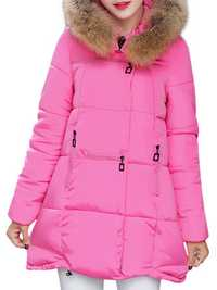 Pure Color Faux Fur Hooded Women Down Coats
