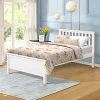 Double Bed Wood Platform Bed with Headboard/Footboard/Wood Slat Support/No Box Spring Needed Twin