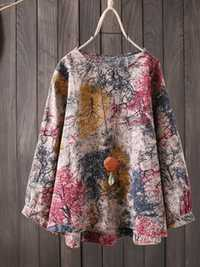 S-5XL Women Cotton Loose Color Print Long Sleeve Blouse