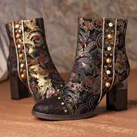 SOCOFY Stitching Splicing Pattern Boots