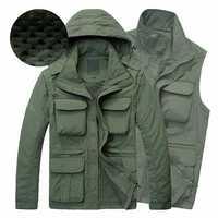 Men Outdooors Casual Multifunctional Water Repellent Windproof Quick Drying Mesh Jacket Vest