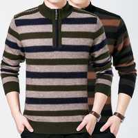 Warm Thick Mink Velvet Striped Pullover Sweater