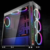 Side Transparent Black Gaming Computer ATX PC Case with 4PCS RGB Cooling Fans and Controller