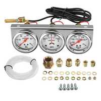 2 Inch 52mm Oil Pressure Water Temp Amp Meter Triple Gauge 3 in 1 Set Chrome Panel