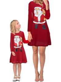 Family Mother Daughter Parent-child Christmas Printed Dress