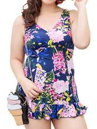 Cosy Stretchy Flower Printing Backless Wireless Sleeveless One Piece Swimdresses