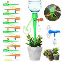 6Pcs/12Pcs Upgraded Automatic Watering Device Adjustable Water Flow Dripper With Switch Control Valve Bracket Design DIY Drip Irrigation for Plants Indoor Household Waterers Bottle