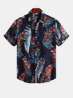 Promotion Men Colorful Feather Printign Summer Printed Hawaiian Shirts