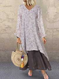 V-neck Button Print Splice Long Sleeve Casual Maxi Dress