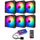 Discount pas cher Coolmoon 6PCS 120mm RGB PC Fans 12 Monochromatic Light Adjustable CPU Cooling Fan With the Remote Control