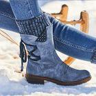Meilleurs prix Women Plus Size Comfy Stitching Casual Mid Calf Boots