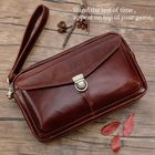 Meilleurs prix Men Genuine Leather Large Capacity Clutches Bags Phone Bag Card Holder