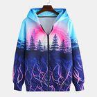 Offres Flash Mens Fashion Tree Printing Hooded Zipper Casual Sweatshirt