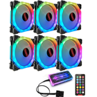 Meilleurs prix Coolmoon 6PCS 120mm Multilayer Backlit RGB Cooling Fan Computer Case PC CPU Cooling Fan with the Remote Control