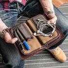 Meilleurs prix Men Vintage Card Holder Solid Phone Bag Business Long Wallet