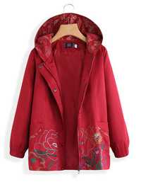 Hooded Embroidered Vintage Coat