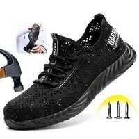 TENGOO Men's Safety Shoes Quick Drying Steel Toe Non-Slip Anti-Smashing Hiking Camping Fishing Work Shoes