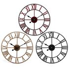 Meilleurs prix 40CM Vintage Roman Numerals Giant Open Face Metal Wall Clock Large Outdoor Garden
