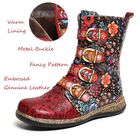 Promotion Women Retro Metal Buckle Leather Comfy Ankle Boots