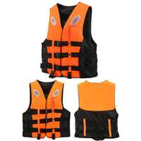 Life Jacket Adult Swimming Polyester Foam Life Jacket Vest Whistle Prevention Flood Waterproof-XXXL