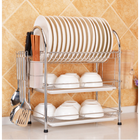 Bon prix 3 Tier Chrome Kitchen Dish Rack Cup Drying Drainer Tray Cutlery Holder Storage Kitchen Storage Rack