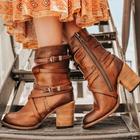 Prix de gros Women Motorcycle Buckle Strappy Zipper High Heel Boots