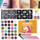 Recommandé 30 Color Loose Powder Glitter Tattoo Kit Body Princess 135 Stencils Glue Brushes Set