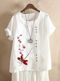 Button Embroidery Floral Short Sleeve T-shirts