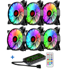 Meilleurs prix Coolmoon 6PCS Adjustable RGB LED Light Computer Case PC Cooling Fan With The Remote Control