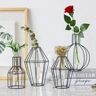 Prix de gros 3D Nordic Metal Vase Glass Tube Hydroponic Plant Container Ornaments Home Decor