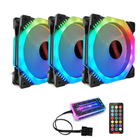 Meilleurs prix Coolmoon 3PCS 120mm Multilayer Backlit Adjustable RGB Light Computer Case PC Cooling Fan with the Remote Control