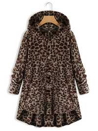 Fleece Leopard Asymmetrical Hem Coats