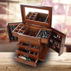 Meilleurs prix Wooden Jewelry Storage Box Desktop Organizer For Necklace Bracelet Earrings 4 Drawers with Mirror Makeup Storage Boxes Women Dressing Box