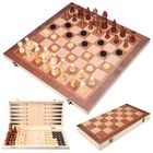 Les plus populaires 3 In1 Portable Wooden Foldable Chess Board Set & Checkers & Backgammon Set With Chess Pieces And Carrying Case