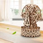 Acheter 3D Antique Self-Assembly Rotating Wooden Music Ferris Wheel Gear Box Laser Cut Parts Puzzle Building Kits Mechanical Model DIY Gift Decorations