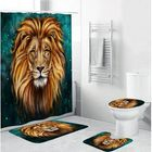 Meilleurs prix 4 Pcs Bathroom Bath Mat Set Anti Slip Rugs Toilet Lid Cover Tiger Shower Curtain