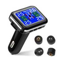 Tsumbay Wireless TPMS Tire Pressure Monitor System with USB Port 4 Waterproof Sensors Suitable for Cars within 3.5Bar