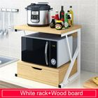 Meilleurs prix 2-Tiers Kitchen Microwave Oven Rack with Drawer Home Storage Shelf Rack Kitchen Desktop Counter Shelf Organizer Tableware Space Saver