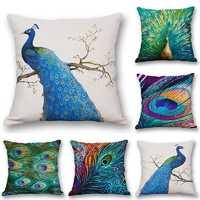 Nordic Style Peacock Print Linen Cotton Cushion Cover Throw Square Pillow Case Home Sofa
