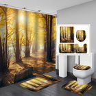 Acheter Tree Forest Printing Waterproof Bathroom Shower Curtain Toilet Cover Mats Floor Rugs with 12 Hooks