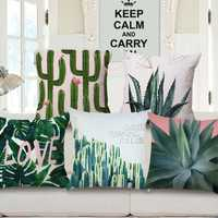 Fresh Plants Linen Pillow Case Waist Cushion Cover Bags Home Car Decor 45x45cm