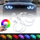 Acheter 4PCS 131mm+146mm Multi-Color RGB LED Angel Eyes Halo Ring Lights Headlights with Remote Control For BMW E46 E90