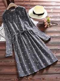 Polka Dot Drawstring Waist Vintage Dresses