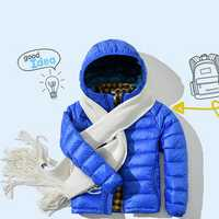 Kids Light Weight Pure Color Long Sleeve Zipper Winter Hooded Down Jacket